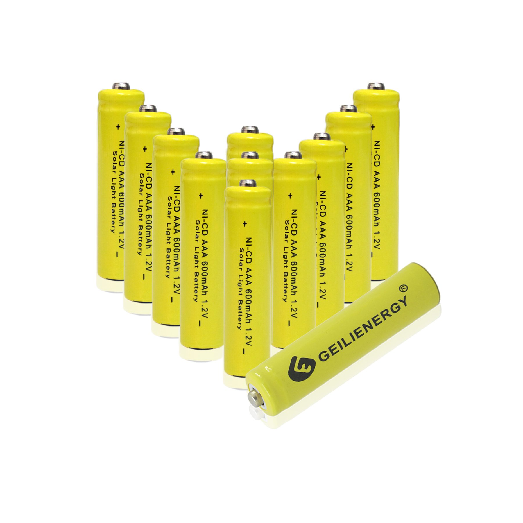 GEILIENERGY NiCd AAA 1.2V 600mAh Triple A Rechargeable Batteries for Solar Light Lamp Yellow Color (Pack of 12)