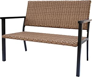 C-Hopetree Patio Loveseat Chair for All Weather Outdoor use with Hand Woven Natural Wicker and Black Frame