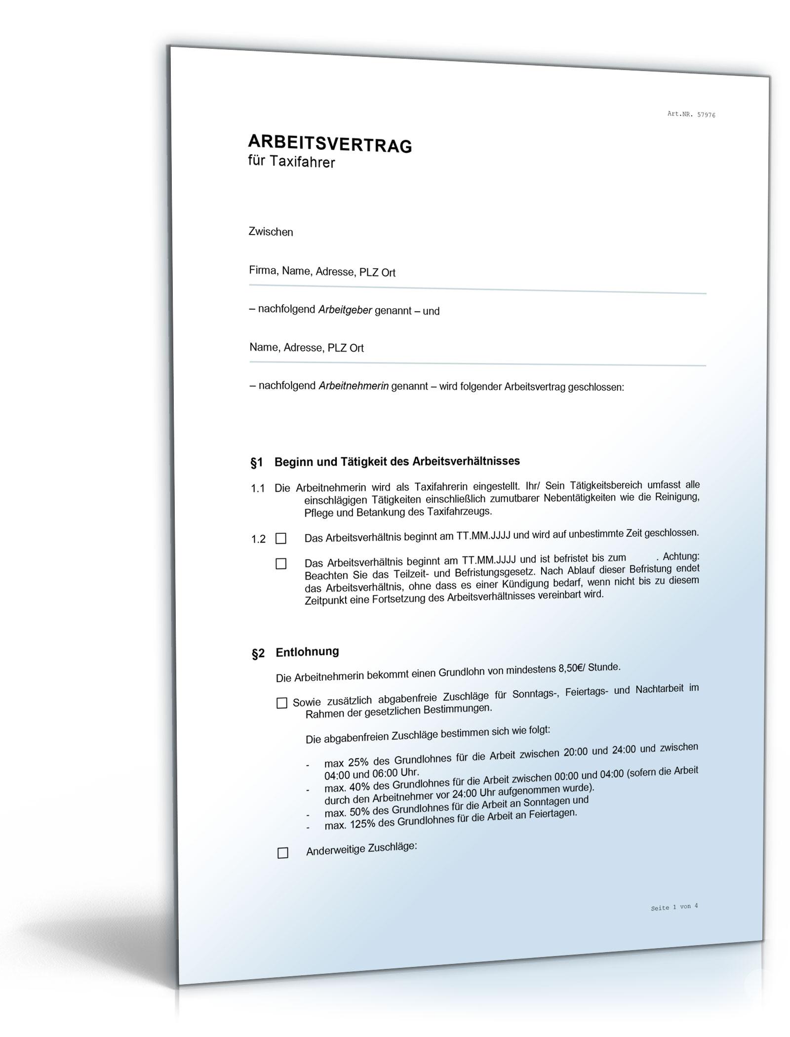 Arbeitsvertrag Taxifahrer Word Dokument Amazonde Software