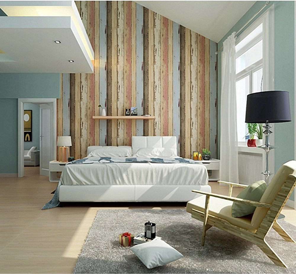 birwall vintage weathered wood panel wood plank wallpaper wall birwall vintage weathered wood panel wood plank wallpaper wall mural for living room kitchen blue tan red rust amazon com