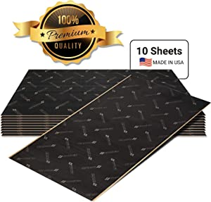 Second Skin Damplifier Premium Car Sound Deadening Material (1mm) – Butyl Rubber Auto Sound Deadener Mat (20 Sq Ft, 10 Sheets) – Made in The USA