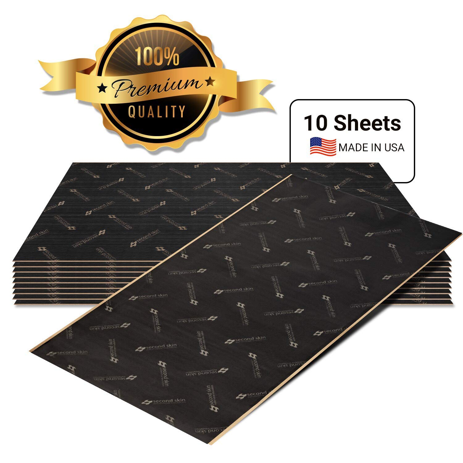 80 Sq Ft Butyl Rubber Car Sound Deadener and Thermal Insulation Made in The USA Second Skin Audio Damplifier Premium Automotive Sound Deadening Mat