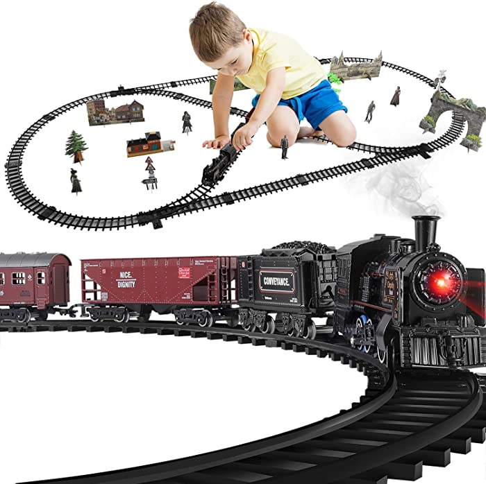 Baby Home Electric Model Train Set,with Realistic Train Sound,Lights and Smoke (3 Carriages)