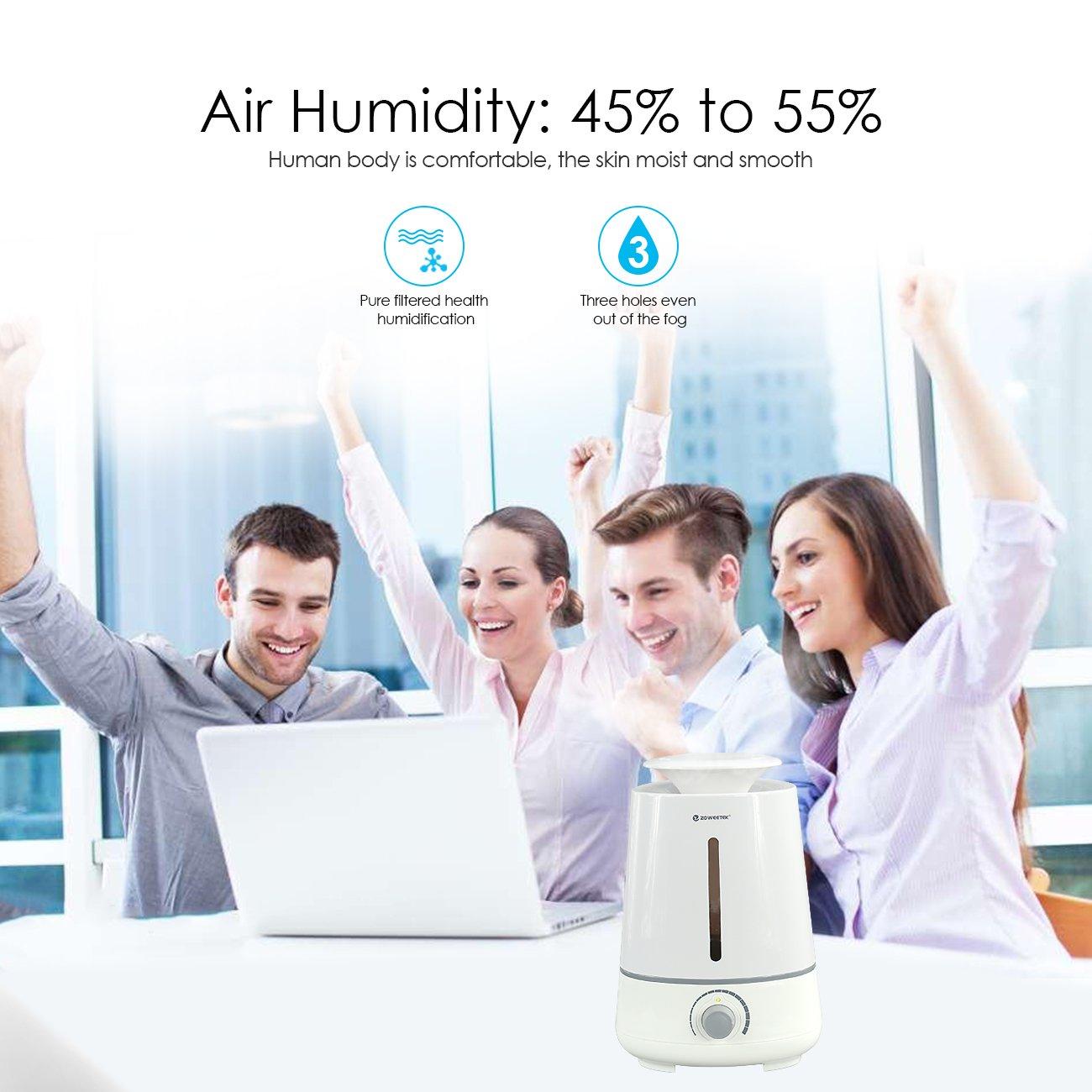 Zoweetek® Humidificateur d\'air portable/ Diffuseur de parfum/ Humidificateur Ultrasonique d\'Huile Essentielles, Eau Capacité de 3.5L,Fonctionnement silencieux et d\'arrêt automatique, Bouton de contrôle pour maison & bureau