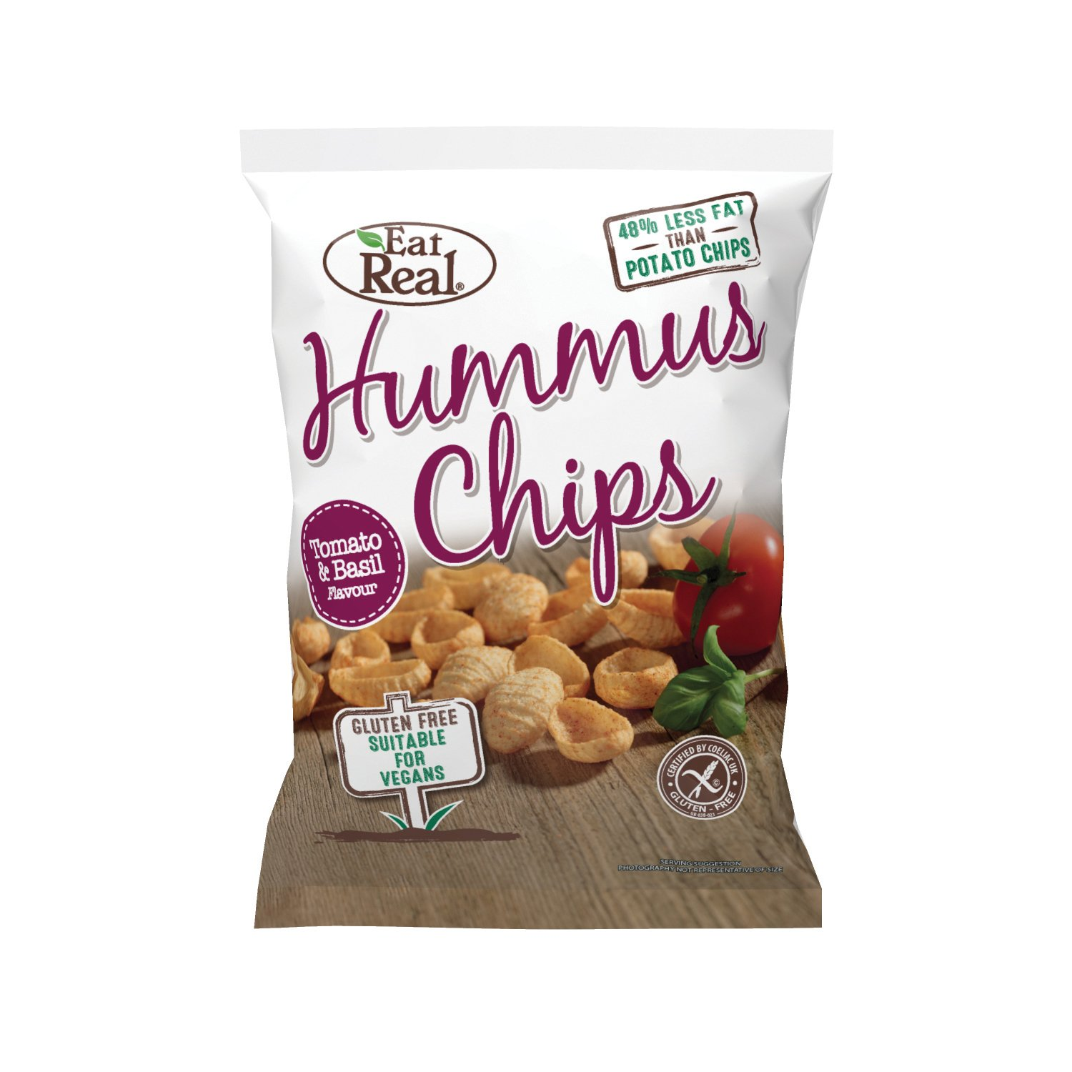 Eat Real Hummus Tomato and Basil Chips, 135 g, Pack of 10