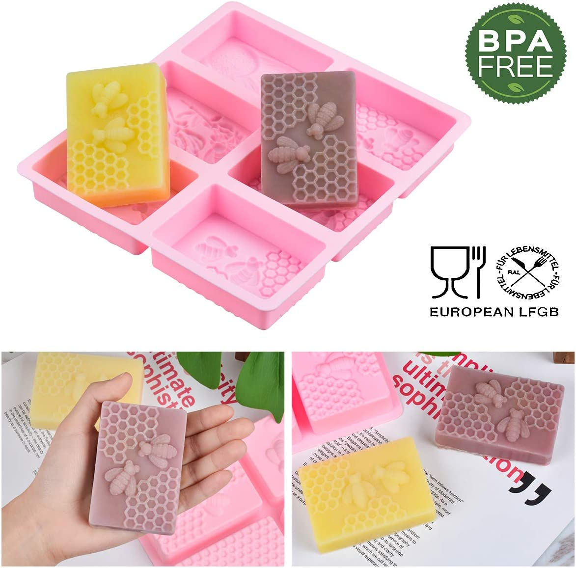 SJ 3D Bee Silicone Molds Rectangle Cake Baking Mold Honeycomb Molds for Soaps Square, Pink Resin Mold Beehive Candle Mold for Homemade Craft