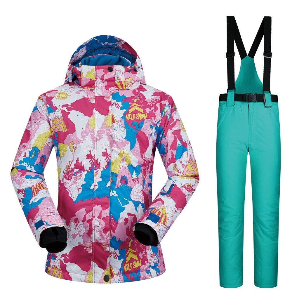 AUMING Skianzug Skijacke Windproof wasserdichter Schneeanzug der Frauen Bunte gedruckte Ski-Latzhosen-Hosen (Farbe : Light Green Pants, Größe : S)