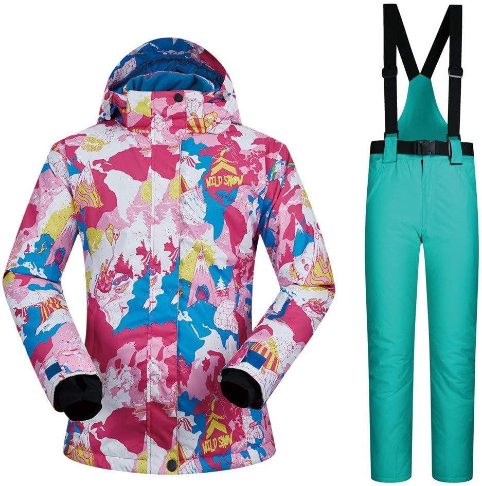 スキーウェア スキースーツレディーススーツ通気性防水防風旅行コールドウィンタースキースーツ 耐性ジャケット (色 : Light 緑 pants, サイズ : L) Light 緑 pants Large
