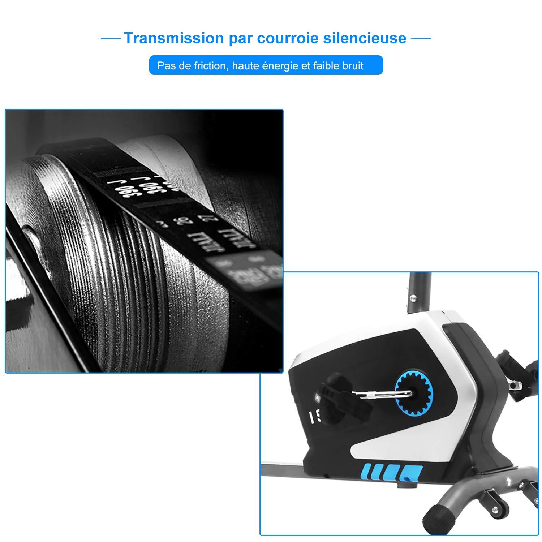 M/áx.120kg,SY-6801 Volante de Inercia Sensor de Pulso ISE Bicicleta Est/ática de Spinning Ejercicio Gimnasio con 8 Niveles de Resistencia Bicicleta El/íptica de Fitness con Pantalla Sill/ín Ajustable