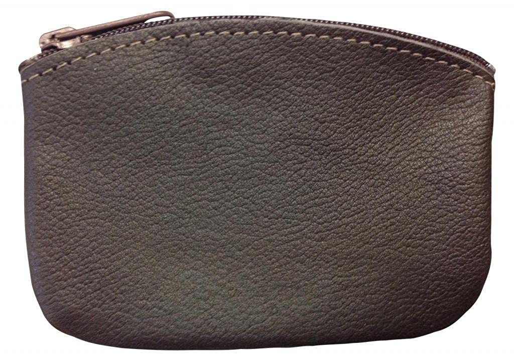 North Star Mens Large Leather Zippered Coin Pouch Change Holder