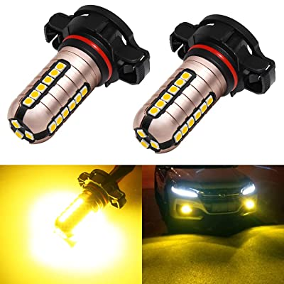 Phinlion 2504 Yellow LED Fog Light Bulbs 3000 Lumens Super Bright 3030 27-SMD 12276 2504 PSX24W LED Bulb Replacement for DRL Lights or Fog Lamps, Golden Yellow: Automotive