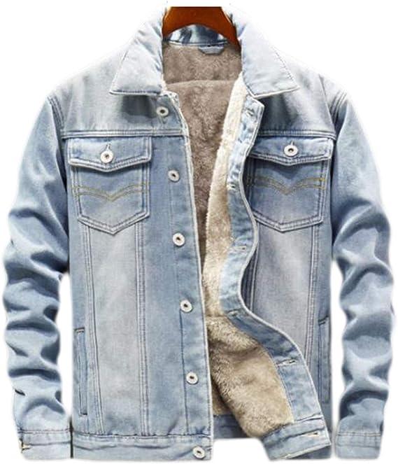 メンズデニムジャケットカジュアルクラシック冬の厚い胸を生き抜くコート暖かい厚くロデオ裏地ファッションメンズジーンズジャケットポケット