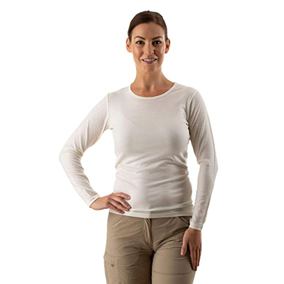 828f0586d7ccd EDZ Merino Wool Thermal Base Layer Long Sleeve Top Women's Natural White:  Amazon.co.uk: Clothing
