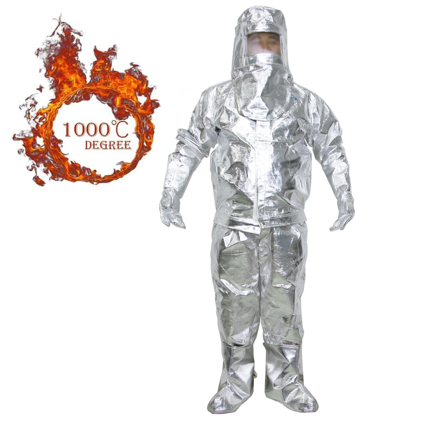 Webetop Aluminum Foil Heat Resistant Thermal Radiation 1000 Degree Centigrade Fire-proof Suit,Include 1 Coat,1 Pant,1 Helmet,1 Glove,1 Boot Cover,EC/CCS Approval,M by Webetop