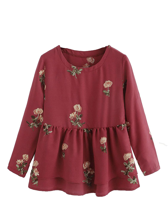 Burgundy Romwe Women's Casual pink Embroidered Ruffle Hem Pepelum Blouse Top