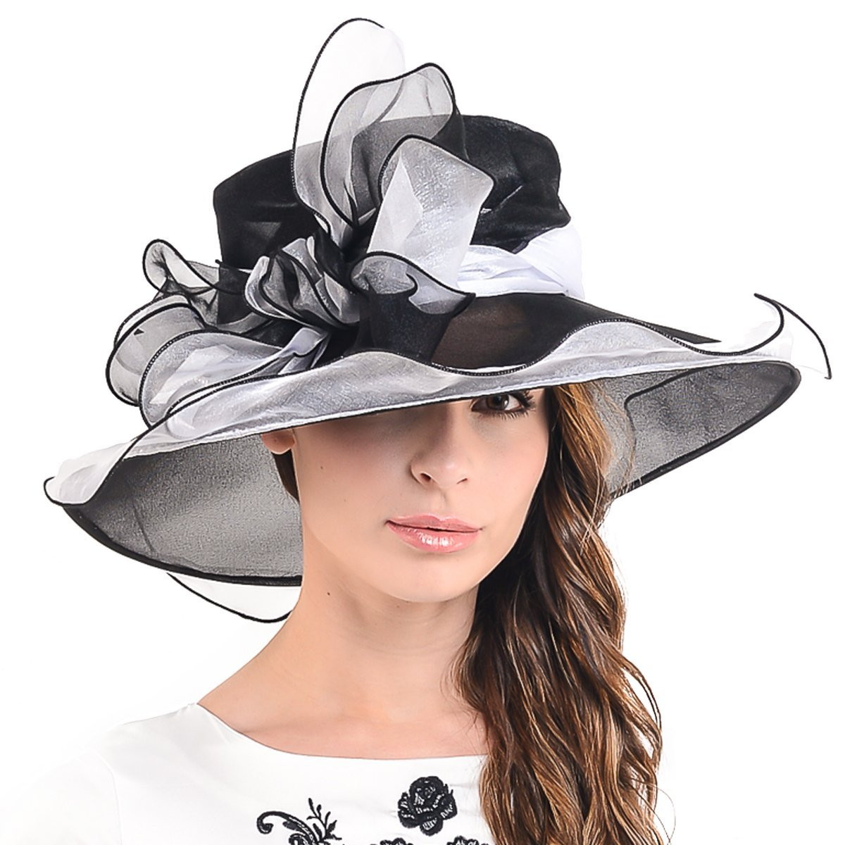 Womens Church Dress Derby Wedding Floral Tea Party Hat Ss-035 (Bow-Black White)