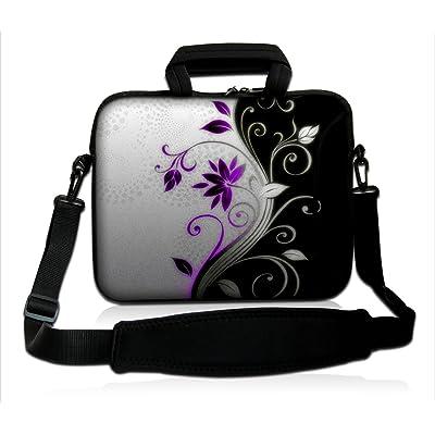 """Funda para Portátiles 15 15.6"""" Pulgadas Funda de Neopreno con asa y Correa para Portátiles DELL HP Macbook de Apple Samsung Toshiba*B and W Purple Flower*"""