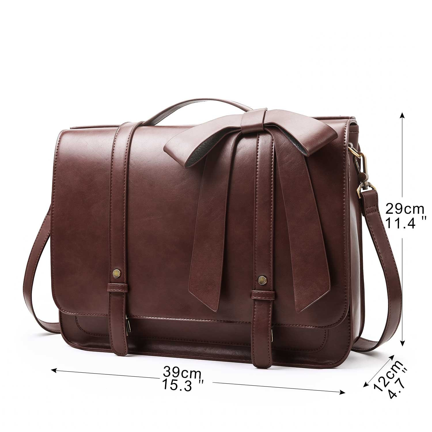 ECOSUSI Ladies Briefcase PU Leather Laptop Backpack Shoulder Satchel Computer Bag with Detachable Bow, Coffee by ECOSUSI (Image #7)