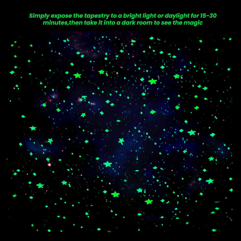 130 x 150 cm SUCHDECO Tapisserie murale phosphorescente avec ciel /étoil/é bleu galaxie univers D/écoration murale psych/éd/élique pour appartements chambre /à coucher espace salon