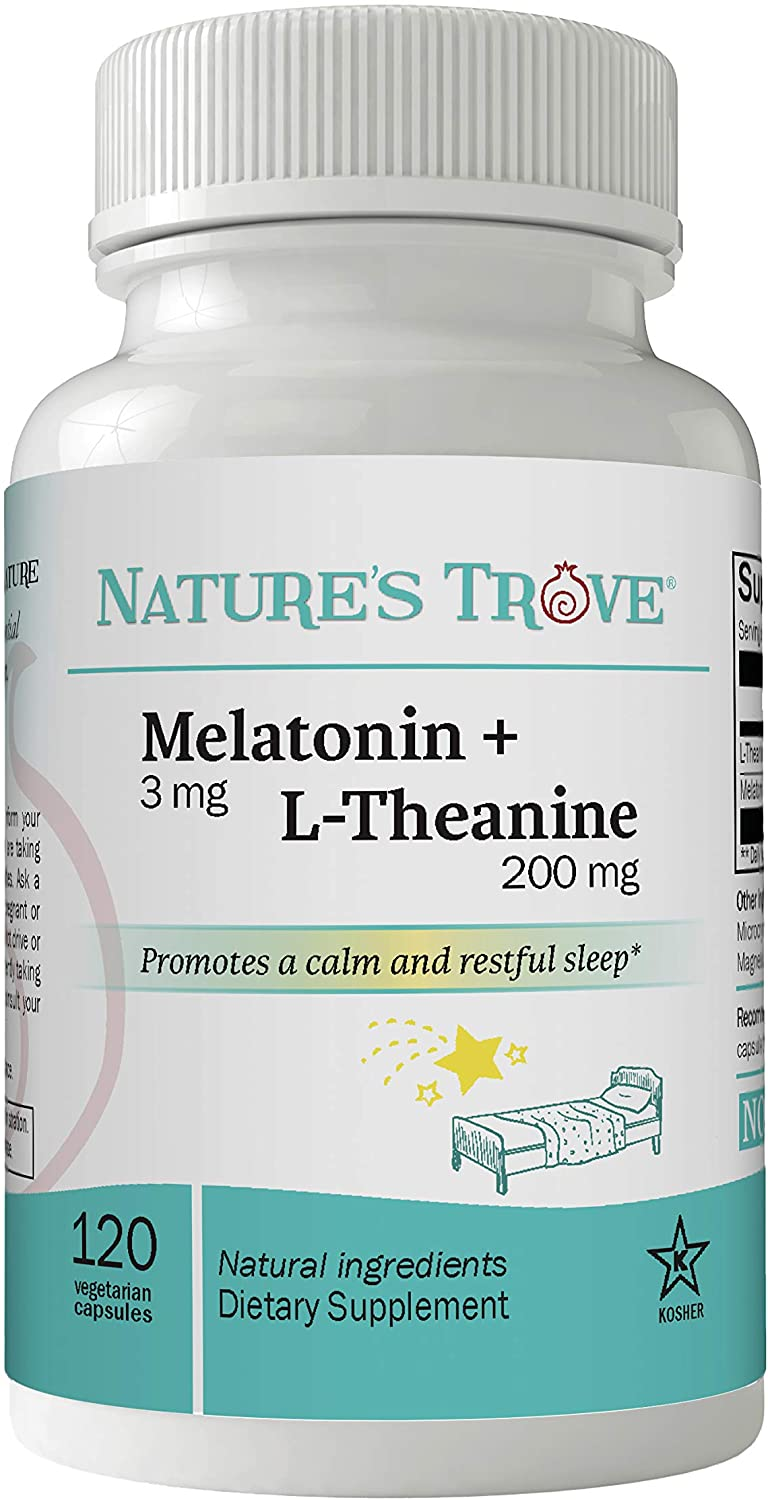 Melatonin 3mg + L Theanine 200mg – Sleep Aid Supplement – Promotes Deep Sleep – Promotes Stress Control and Relaxation – 120 Kosher Vegetarian Capsules by Natures Trove