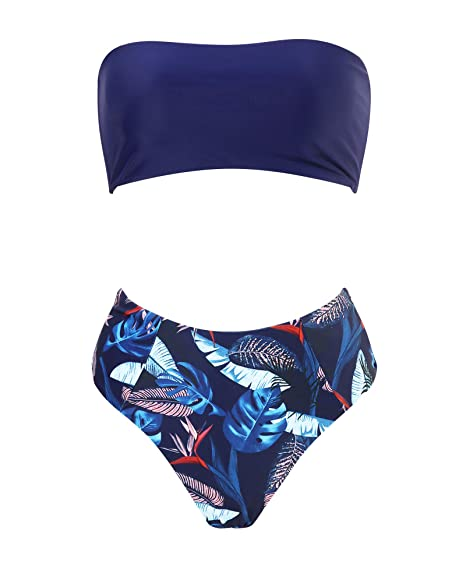 90e0b3250c50bd OMKAGI Women s 2 Pieces Bandeau Bikini Swimsuits Off Shoulder High Waist Bathing  Suit High Cut(