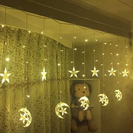 led star curtain lights moon star string light 138 leds 250cm length with 8 modes