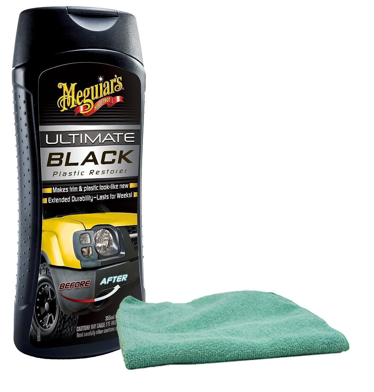 Meguiars Ultimate Black Plastic Restorer (12 oz) Bundle With Microfiber Cloth (2 Items) Meguiar' s G-15812-CLOTH1