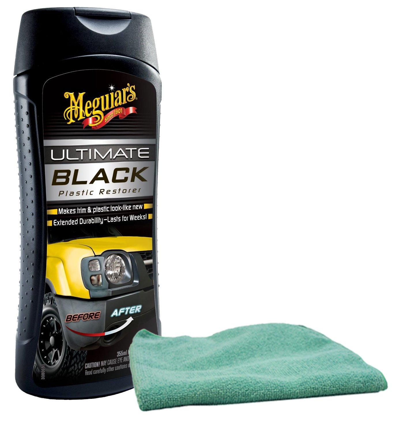 Meguiars Ultimate Black Plastic Restorer (12 oz) Bundle With Microfiber Cloth (2 Items)