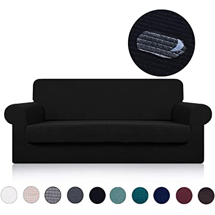 Sofa Cover With Separate Seat Cushion Cover 2 Pieces Set Water Repellent Knitted Jacquard High Stretch Living Room Couch