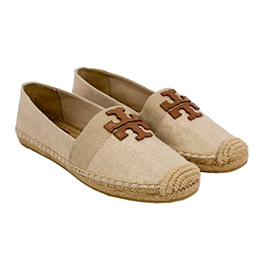 Tory Burch Weston Flat Espadrille (9.5, Natural/Royal Tan)
