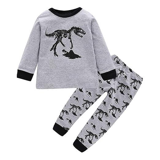 214406bb930a Amazon.com  Boy Pajamas Kids Pajama Set Dinosaur 100% Cotton ...