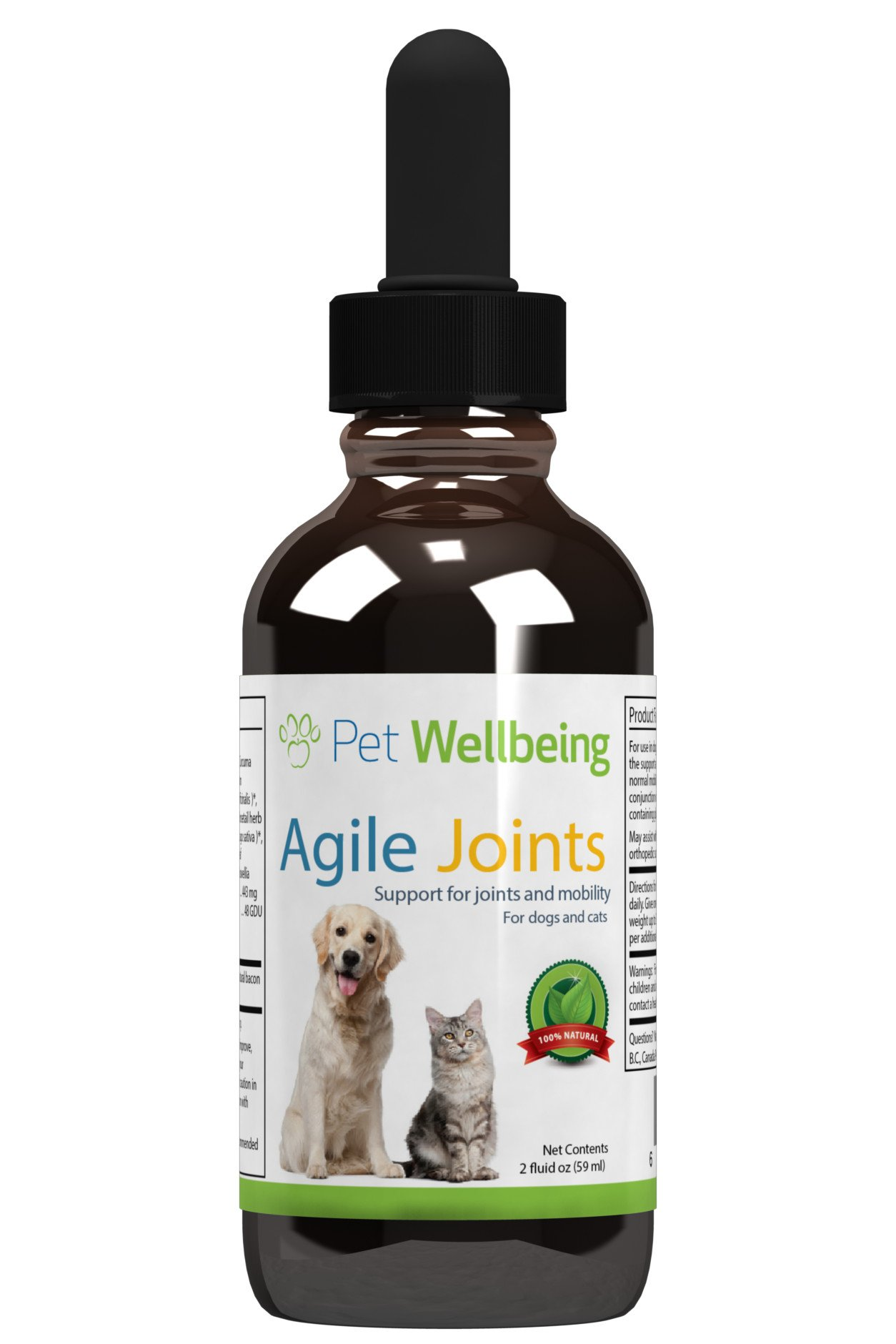 Pet Wellbeing - Agile Joints for Dogs - Canine Arthritis Hip and Joint Support - 2 oz (59ml)