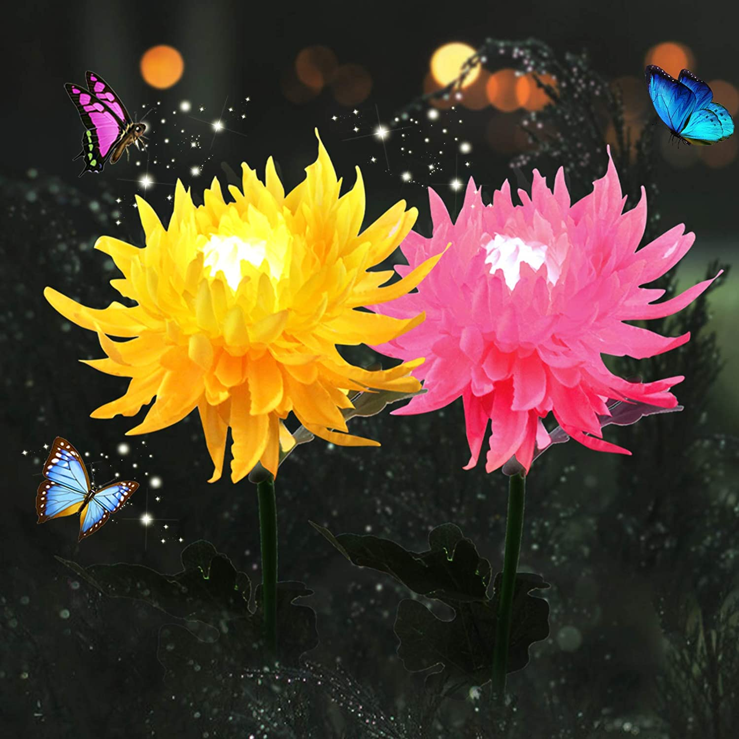 Solar Flowers Garden Lights Outdoor AHNNER Large Chrysanthemum Decoration for Yard Patio, Flower Size 5 inch, 29.5 inch High, 2pack (Yellow + Powder)