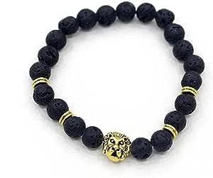 Jewelery Men 's Bamboo Bracelet Volcanic Rocks Natural Stone Lion Head Bead Bracelet