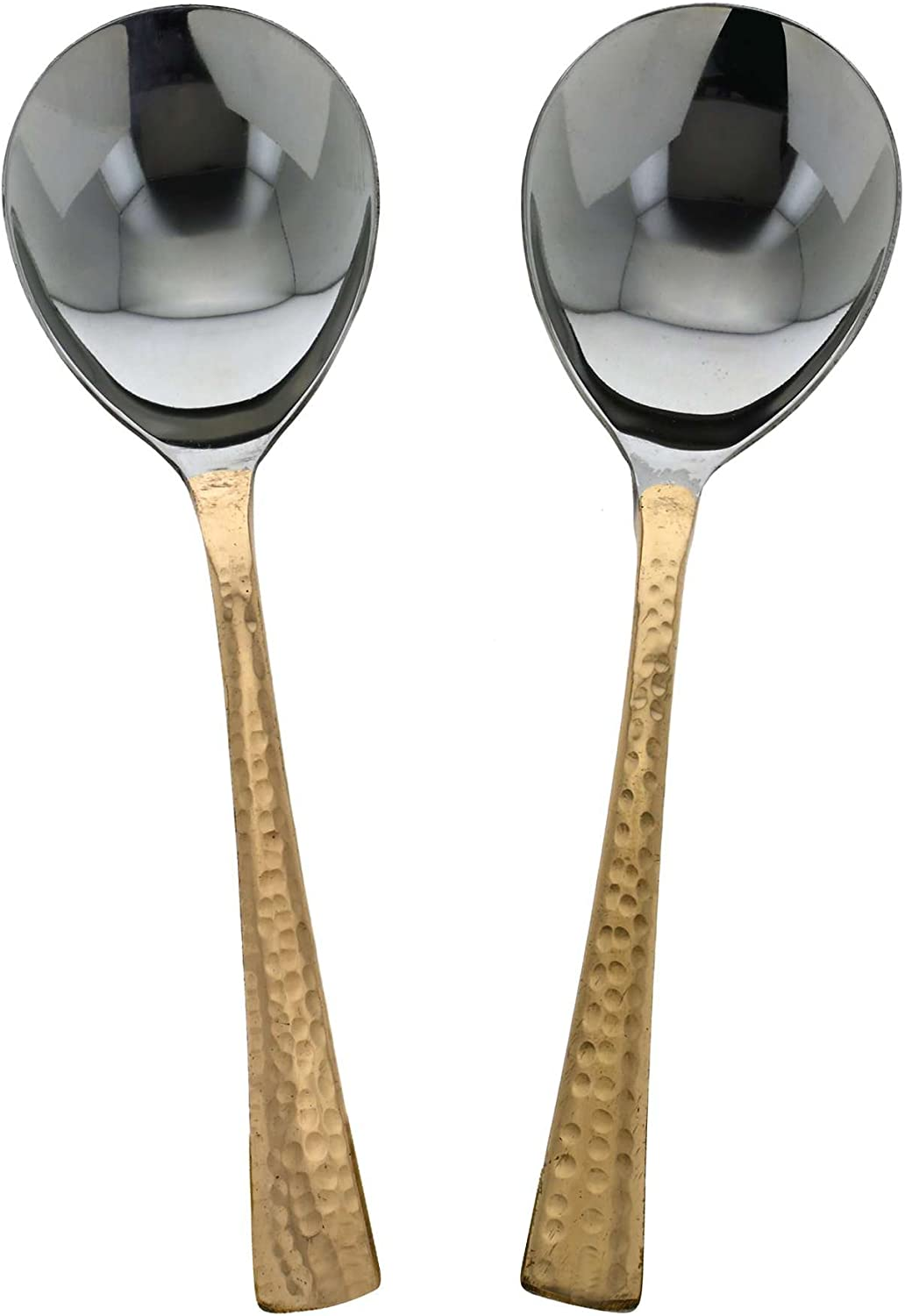 ShalinIndia Handmade Indian Stainless Steel & Copper Serving Spoon Set of 2 - Genuine Copper Dinnerware Serving Pieces