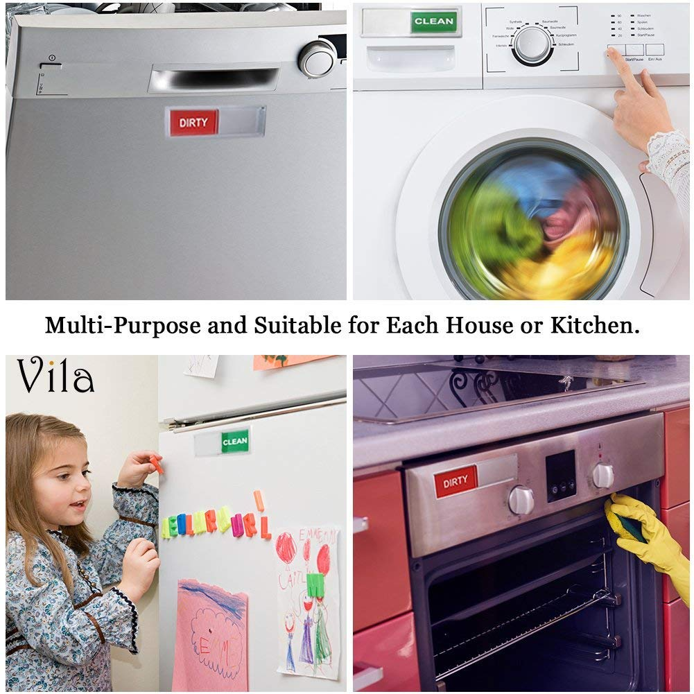 "Descriptive Dishwasher Magnet - Brightly Colored and Easy to Read - 2""x7"" Dishwasher Sign from Vila - Smooth Glide to reveal Clean or Dirty - Low Profile Design Sticks to any Magnetic Surface"