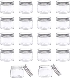 BENECREAT 18 Pack 40ml Clear Plastic Storage Containers with Aluminum Screw Caps for Travel Cosmetics Body Care, DIY Arts Crafs, Beads, Dry Food Snacks