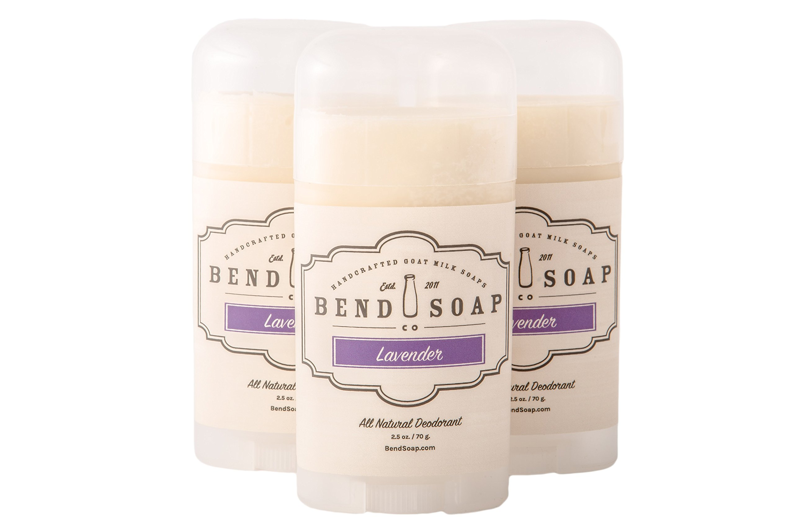 Bend Soap Company All Natural Deodorant Stick – Aluminum Chlorohydrate Free Antiperspirant With Essential Oils, Coconut Oil and More (3 - Pack, Lavender Fragrance)