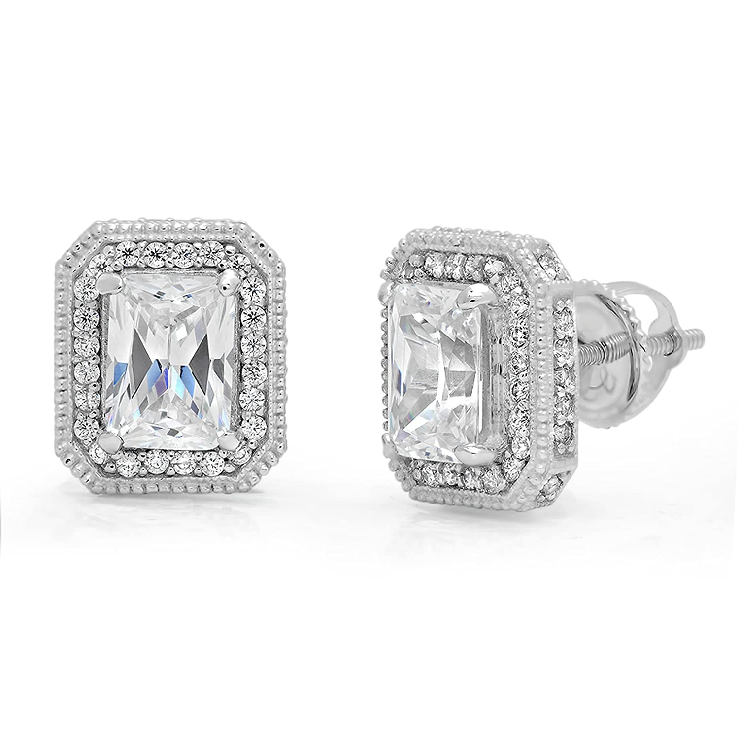 f6d728ae5 Amazon.com: 3.98CT Emerald Cut Simulated Diamond CZ SOLITAIRE HALO STUD  EARRINGS Solid 14K White GOLD Screw Back: Jewelry