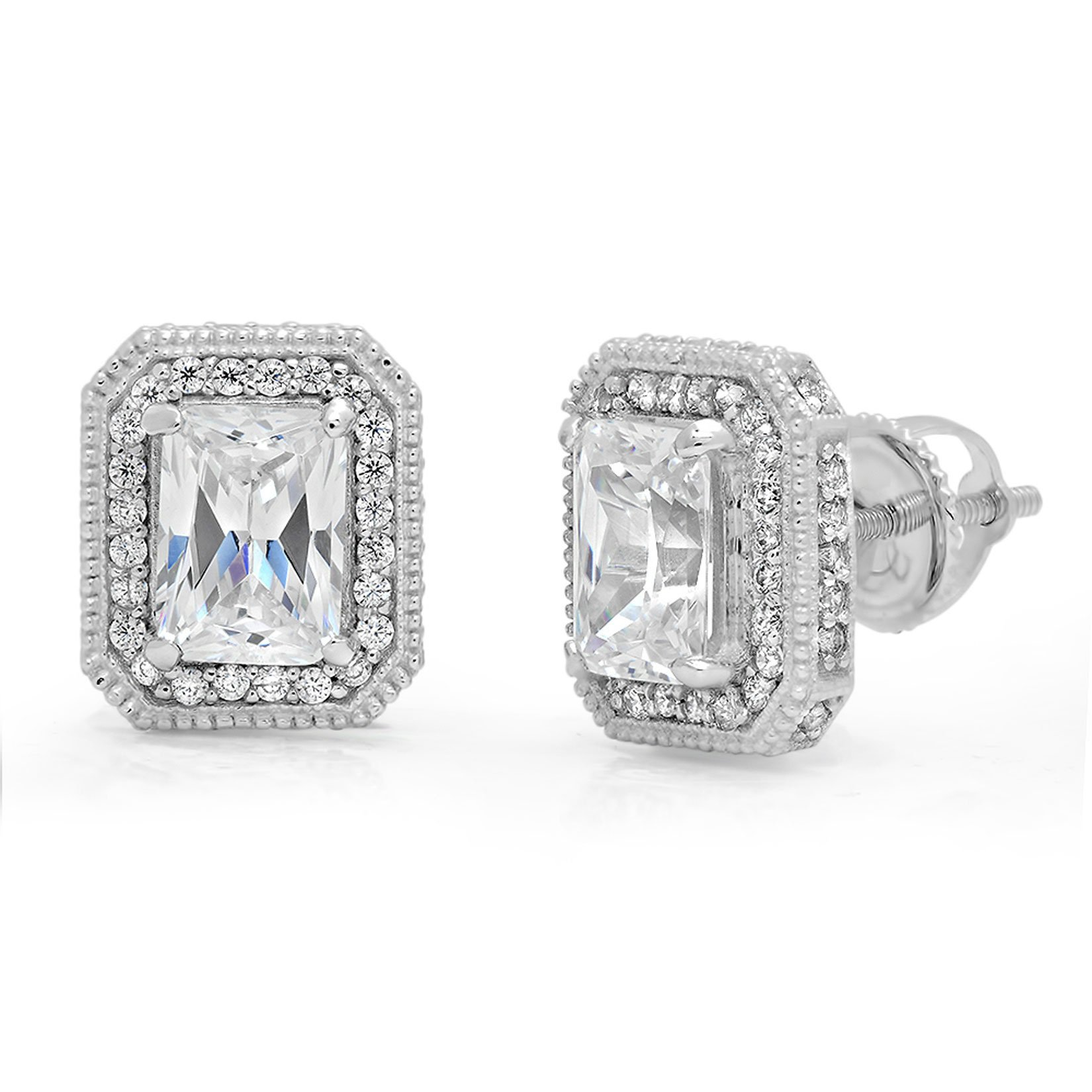 Clara Pucci 3.78 CT Emerald Cut CZ SOLITAIRE HALO STUD EARRINGS Solid 14K White GOLD Screw Back