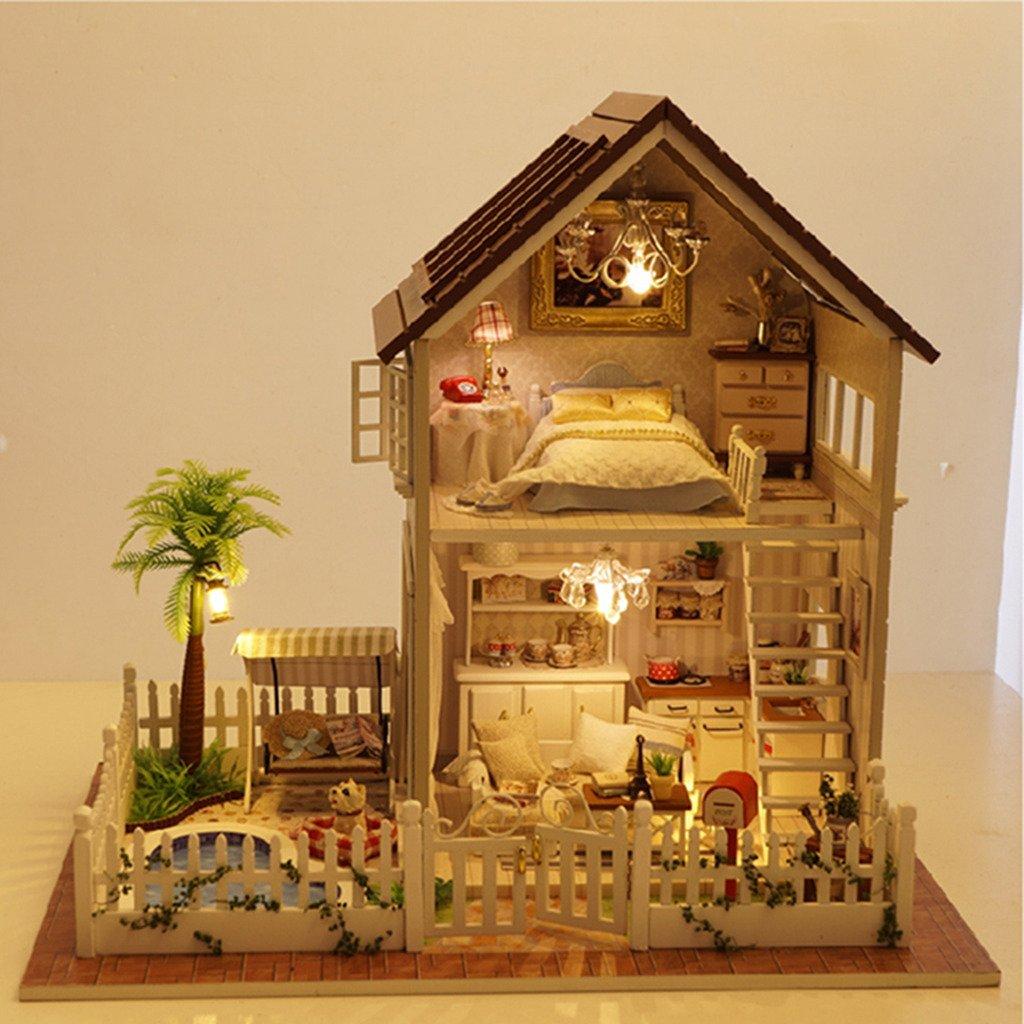 Amazon com rylai wooden handmade dollhouse miniature diy kit paris apartment wooden dollhouses furniture parts132 scale dollhouse home kitchen