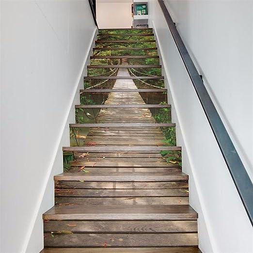 Decoracion regalo paisaje 3D de carteles (bosque puente levadizo) escaleras publicado creative paredes impermeables (18*100cm*13pcs)-YU&XIN: Amazon.es: Hogar
