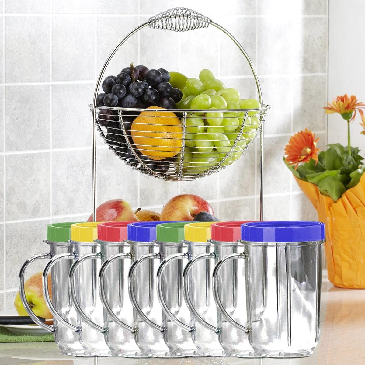 Lutema Replacement Juicer Cups 16oz. - Party Cup Mugs Compatible with Original Magic Bullet