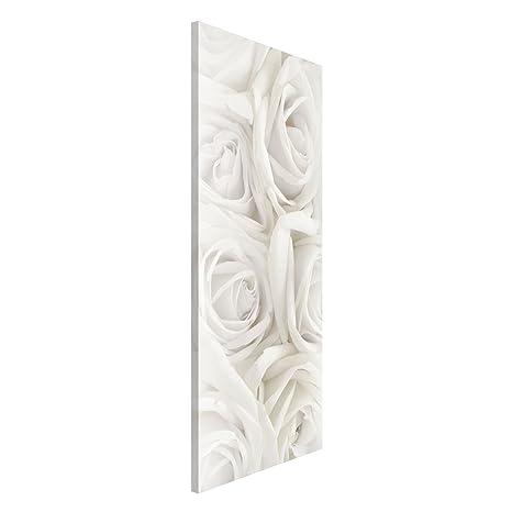 Gr/ö/ße HxB 78cm x 37cm Magnettafel Wei/ße Rosen Memoboard Design Hoch Metall Magnet Pinnwand Motiv Wand Stahl K/üche B/üro