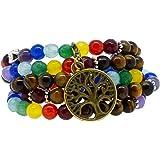 Seven Chakra Yoga Meditation Healing Simulated Tiger Eye Mala Wrap Bracelet or Necklace