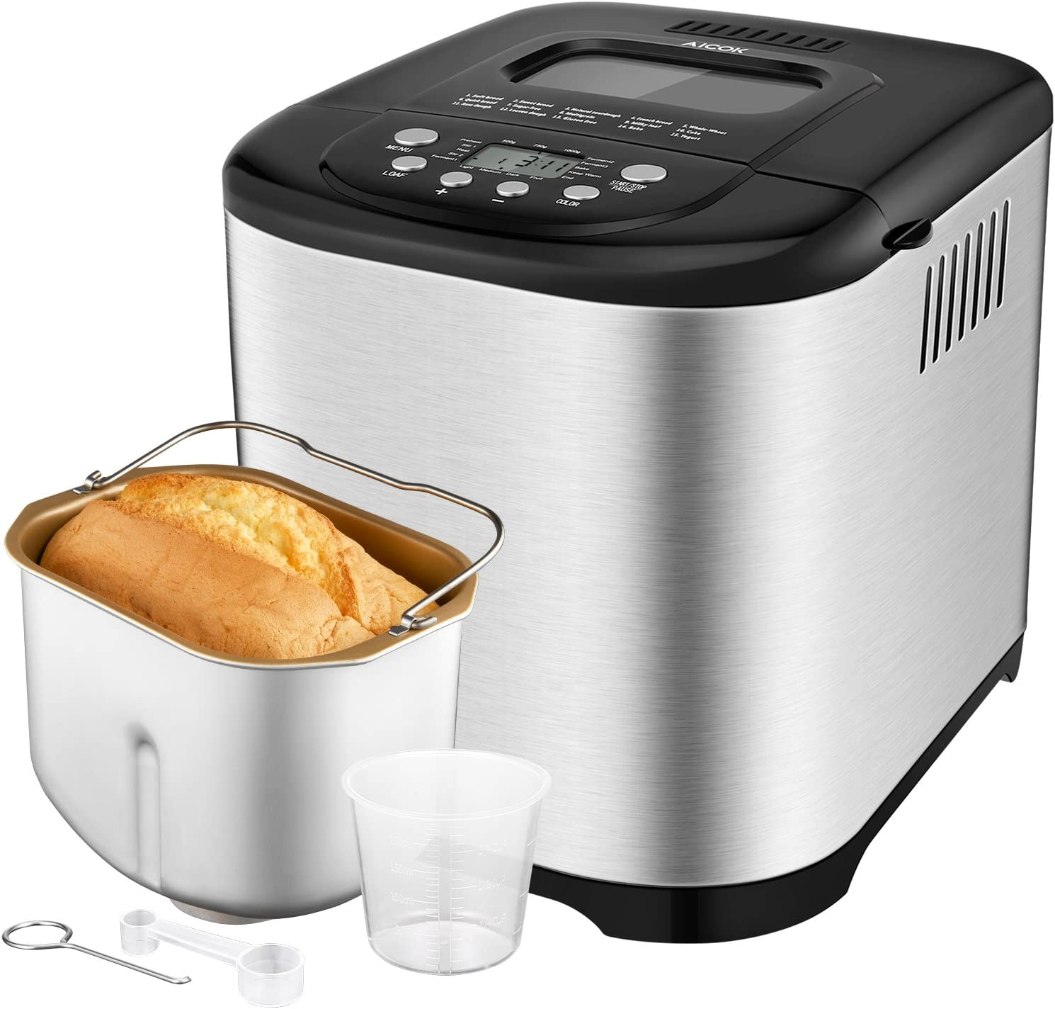 Programmable Bread Maker 2018 Upgraded , Aicok 2.2LB Stainless Steel Bread Machine with Gluten Free Menu setting, 3 Loaf Sizes, 3 Crust Colors, 15-Hour Delay Timer, 1 Hour Keep Warm