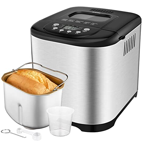 Programmable Bread Maker[2018 Upgraded], Aicok 2.2LB Stainless Steel Bread Machine with Gluten Free Menu setting, 3 Loaf Sizes, 3 Crust Colors, ...