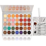Beauty Glazed Eyeshadow Palette and Makeup Brushes, Matte Shimmer Eye Shadow Pallete Waterproof Powder Natural Pigmented Nude Naked Smokey Professional Cosmetic Set (35 Colors + 7 PCS)