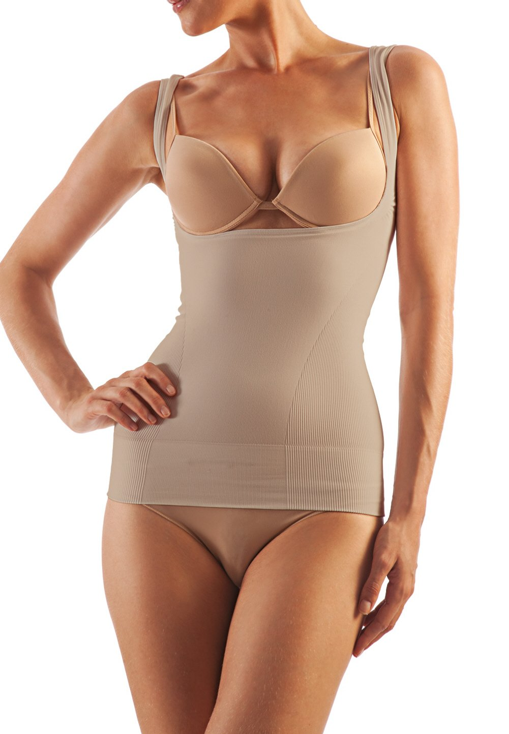 Alpha Medical Open Bust Compression Camisole. Microfiber Shape Wear. For Slimmer Look & After Cosmetic Surgery. Fine Italian Made Quality & Style. (Medium Beige)