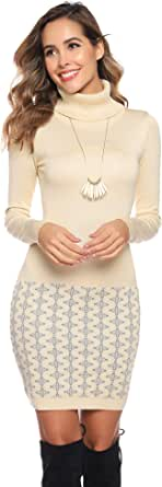 Hawiton Vestido de Punto para Mujer Vestido de Suéter de Cuello Alto de Manga Larga Dobladillo Estampado Vestido de Invierno